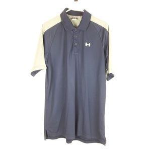 Under Armour Mens Loose Polo Shirt Size L Blue Gra
